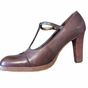 Nine West Brown Leather buckle pumps Sz 6.5